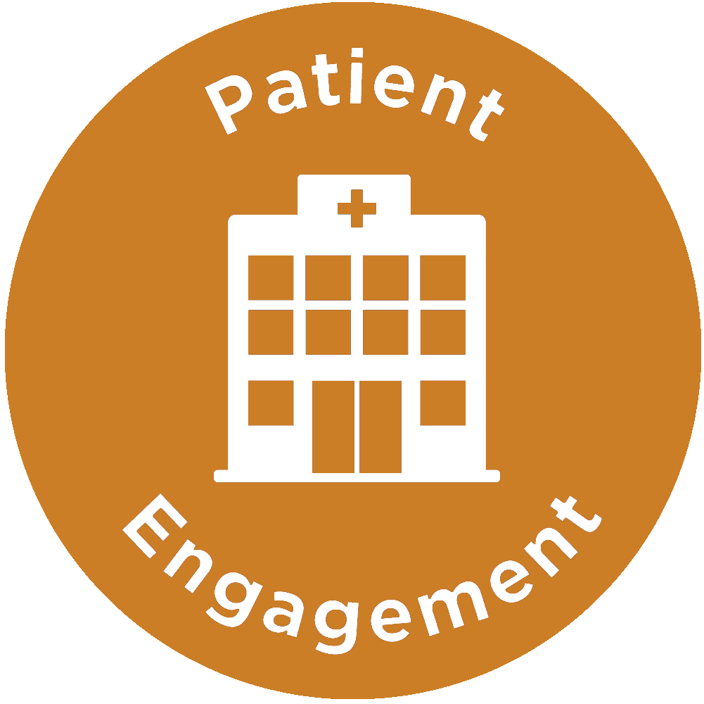 Patient Engagement icon with a hospital graphic